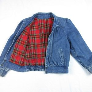 Vintage Puff Sleeve Flannel Denim Jacket, Sz M